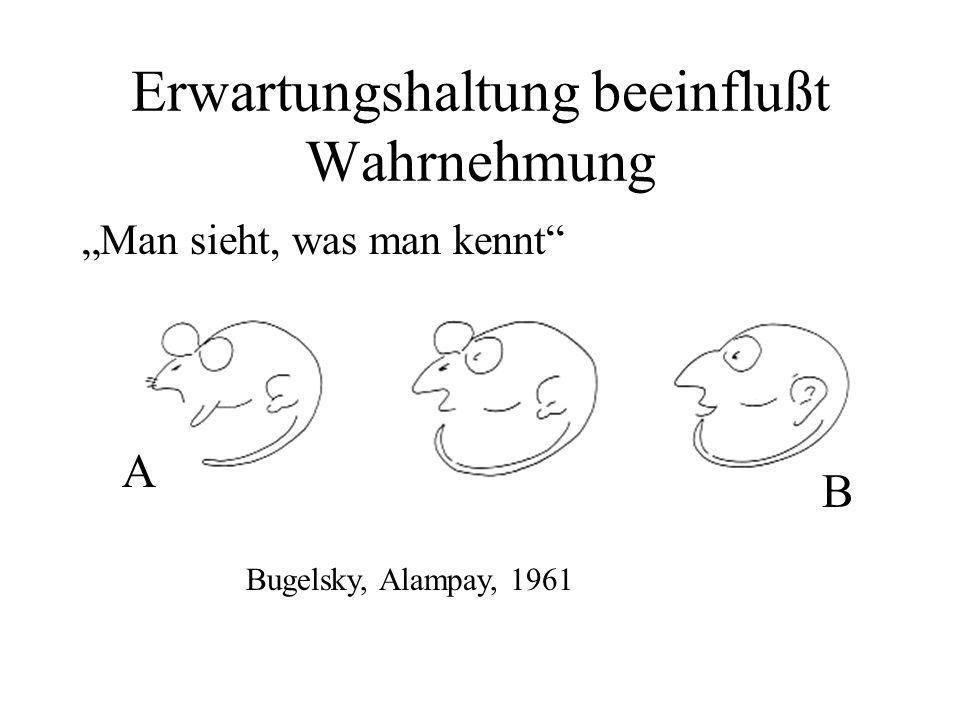 """Erwartungshaltung beeinflußt Wahrnehmung """"Man sieht, was man kennt"""" Bugelsky, Alampay, 1961 A B"""