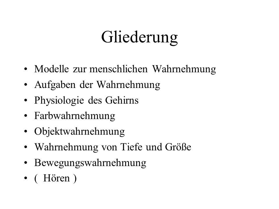 Modelle zur menschlichen Wahrnehmung Frühe Forschungsansätze Erlernen von Wahrnehmung (Erismann, Kohler, seit 1930) Wahrnehmen und Umgebung (Gibson, seit 1930) Wahrnehmen und Motorik (von Holst, Mittelstaedt, Bischof, seit 1950) Wahrnehmen und Kinematik (Johansson, seit 1950) Stereosehen (Julesz, seit 1960) Wahrnehmen und Gedächtnis (Neisser, 1976) Neurophysiologie und -psycholgie (seit ca.