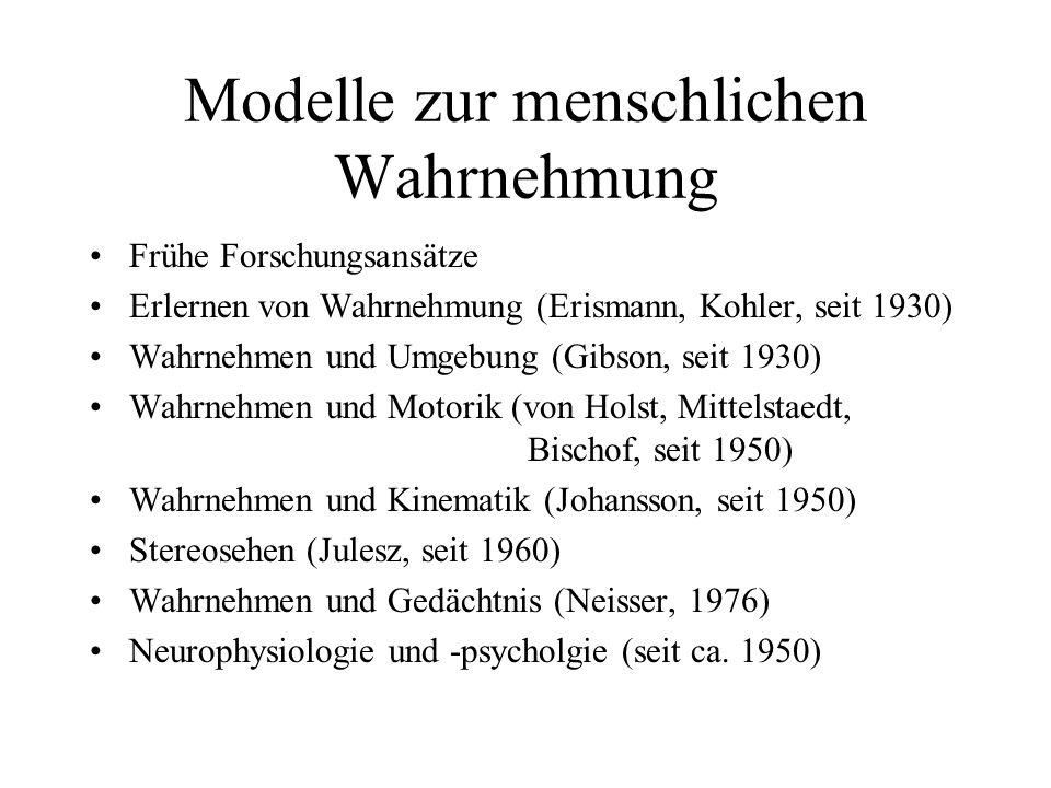 Modelle zur menschlichen Wahrnehmung Frühe Forschungsansätze Erlernen von Wahrnehmung (Erismann, Kohler, seit 1930) Wahrnehmen und Umgebung (Gibson, s