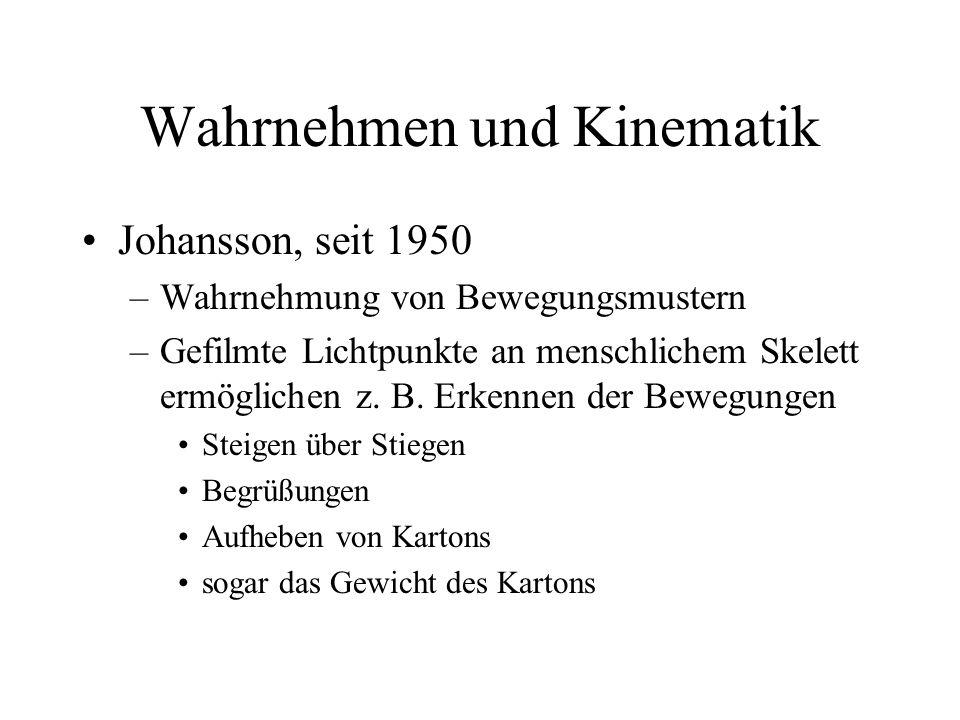 Wahrnehmen und Kinematik Johansson, seit 1950 –Wahrnehmung von Bewegungsmustern –Gefilmte Lichtpunkte an menschlichem Skelett ermöglichen z. B. Erkenn