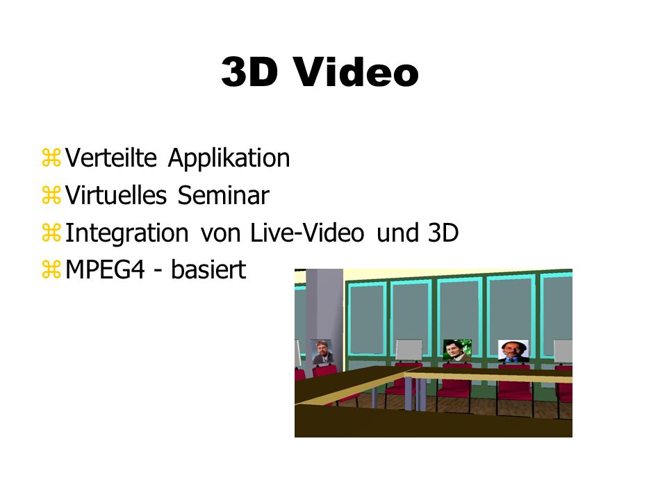 3D Video zVerteilte Applikation zVirtuelles Seminar zIntegration von Live-Video und 3D zMPEG4 - basiert