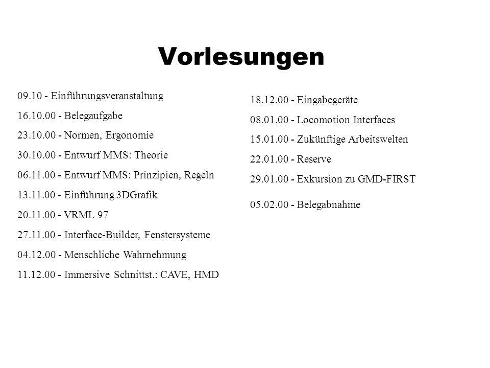 Vorlesungen 09.10 - Einführungsveranstaltung 16.10.00 - Belegaufgabe 23.10.00 - Normen, Ergonomie 30.10.00 - Entwurf MMS: Theorie 06.11.00 - Entwurf MMS: Prinzipien, Regeln 13.11.00 - Einführung 3DGrafik 20.11.00 - VRML 97 27.11.00 - Interface-Builder, Fenstersysteme 04.12.00 - Menschliche Wahrnehmung 11.12.00 - Immersive Schnittst.: CAVE, HMD 18.12.00 - Eingabegeräte 08.01.00 - Locomotion Interfaces 15.01.00 - Zukünftige Arbeitswelten 22.01.00 - Reserve 29.01.00 - Exkursion zu GMD-FIRST 05.02.00 - Belegabnahme