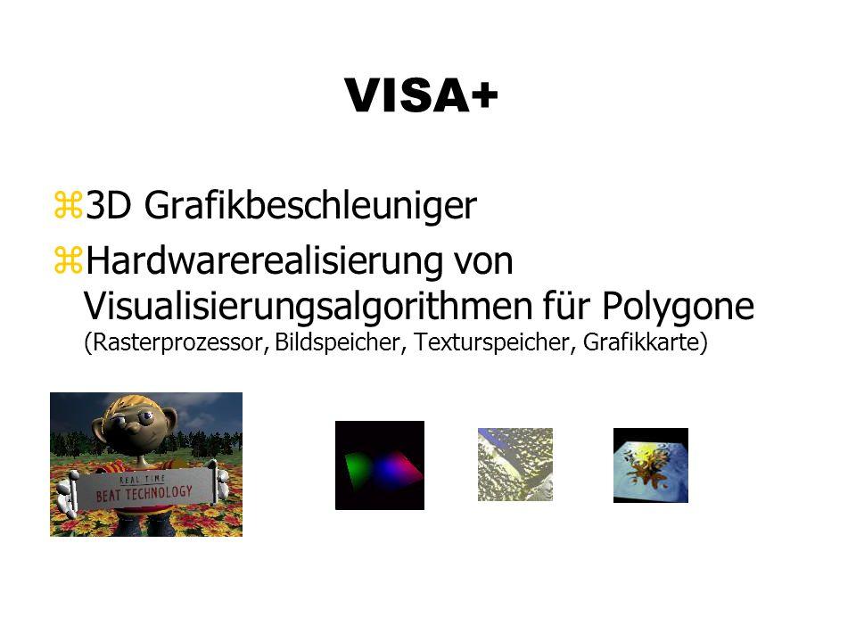 VISA+ z3D Grafikbeschleuniger zHardwarerealisierung von Visualisierungsalgorithmen für Polygone (Rasterprozessor, Bildspeicher, Texturspeicher, Grafikkarte)