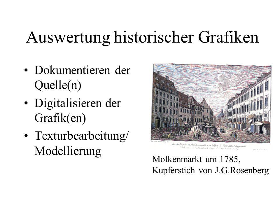Auswertung historischer Grafiken Dokumentieren der Quelle(n) Digitalisieren der Grafik(en) Texturbearbeitung/ Modellierung Molkenmarkt um 1785, Kupfer