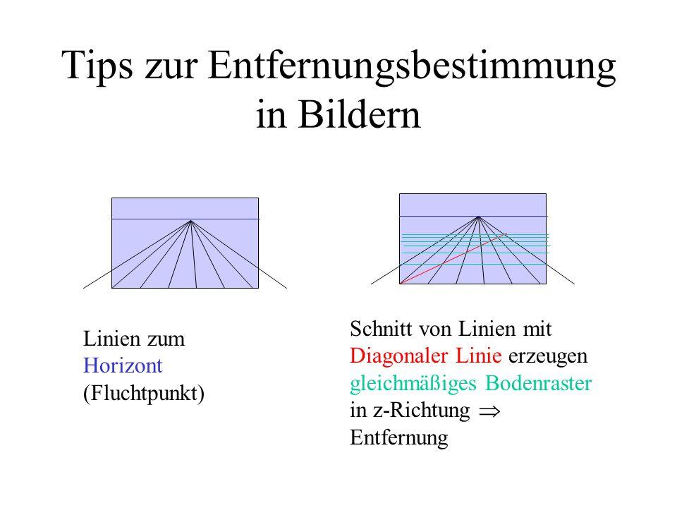 Tips zur Entfernungsbestimmung in Bildern Linien zum Horizont (Fluchtpunkt) Schnitt von Linien mit Diagonaler Linie erzeugen gleichmäßiges Bodenraster