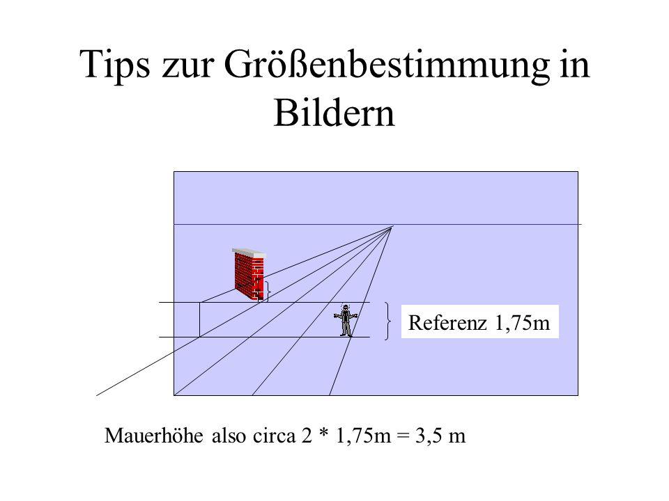 Tips zur Größenbestimmung in Bildern Referenz 1,75m Mauerhöhe also circa 2 * 1,75m = 3,5 m