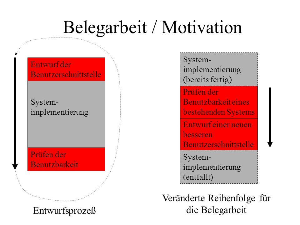 Belegarbeit / Motivation System- implementierung Prüfen der Benutzbarkeit Entwurf einer neuen besseren Benutzerschnittstelle Prüfen der Benutzbarkeit