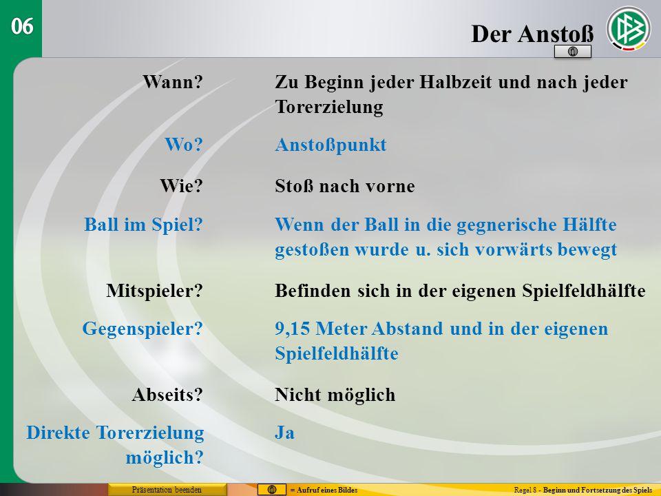 Der Anstoß Regel 8 - Beginn und Fortsetzung des Spiels Wann? Wo? Wie? Ball im Spiel? Mitspieler? Gegenspieler? Abseits? Direkte Torerzielung möglich?