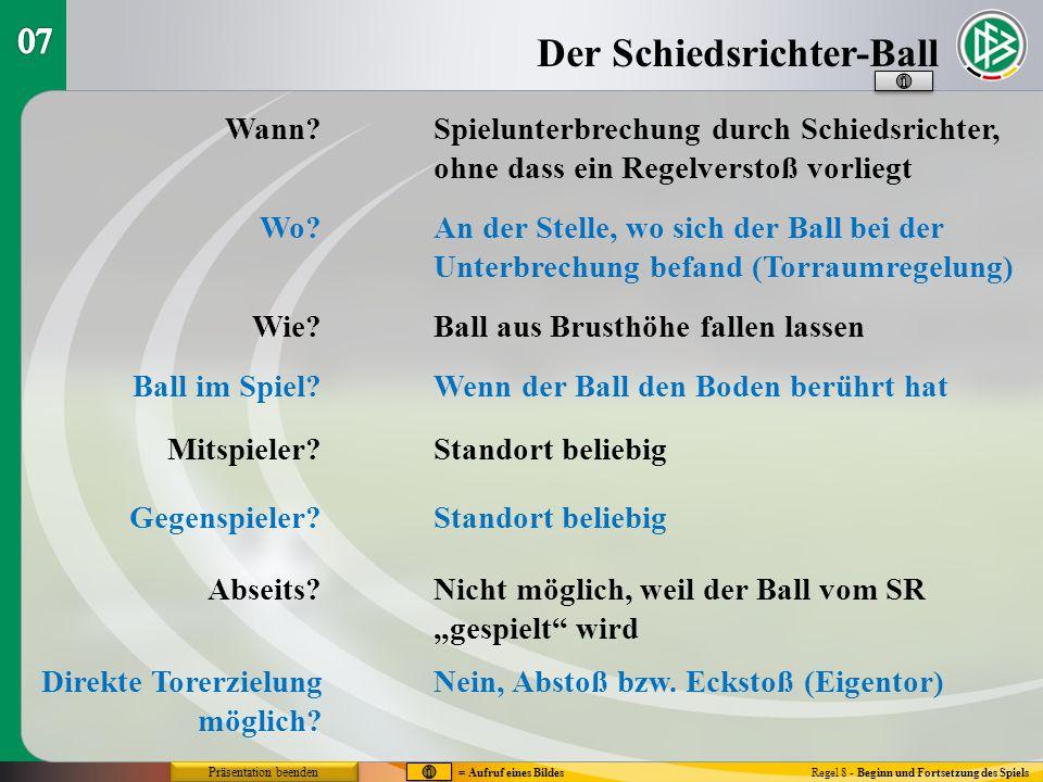Der Schiedsrichter-Ball Regel 8 - Beginn und Fortsetzung des Spiels Wann? Wo? Wie? Ball im Spiel? Mitspieler? Gegenspieler? Abseits? Direkte Torerziel