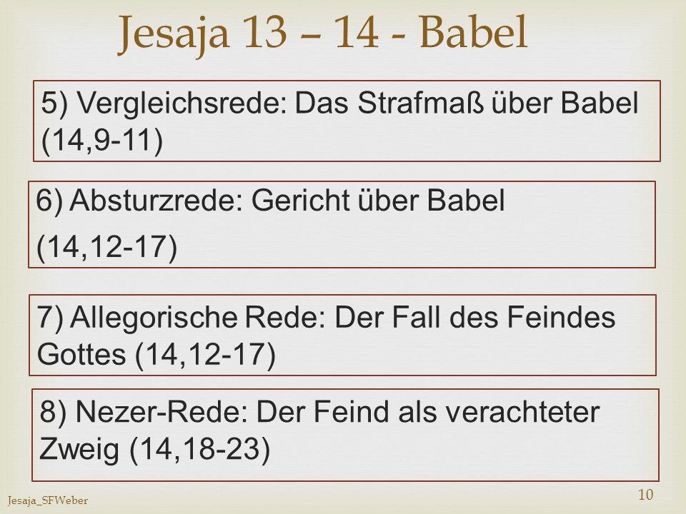 Jesaja_SFWeber 10 5) Vergleichsrede: Das Strafmaß über Babel (14,9-11) Jesaja 13 – 14 - Babel 6) Absturzrede: Gericht über Babel (14,12-17) 7) Allegor