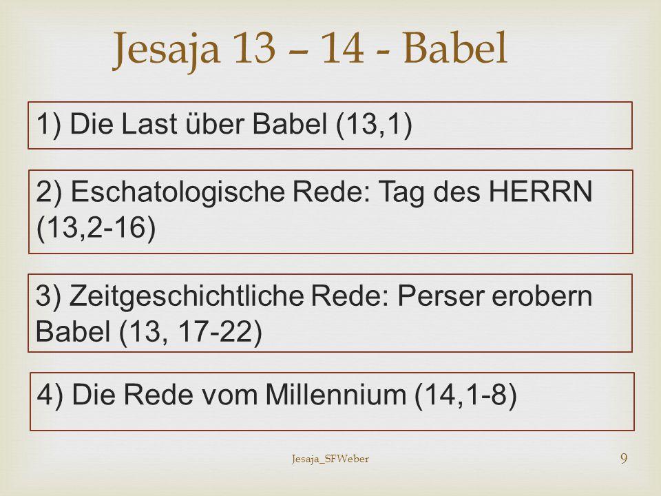 Jesaja_SFWeber 10 5) Vergleichsrede: Das Strafmaß über Babel (14,9-11) Jesaja 13 – 14 - Babel 6) Absturzrede: Gericht über Babel (14,12-17) 7) Allegorische Rede: Der Fall des Feindes Gottes (14,12-17) 8) Nezer-Rede: Der Feind als verachteter Zweig (14,18-23)