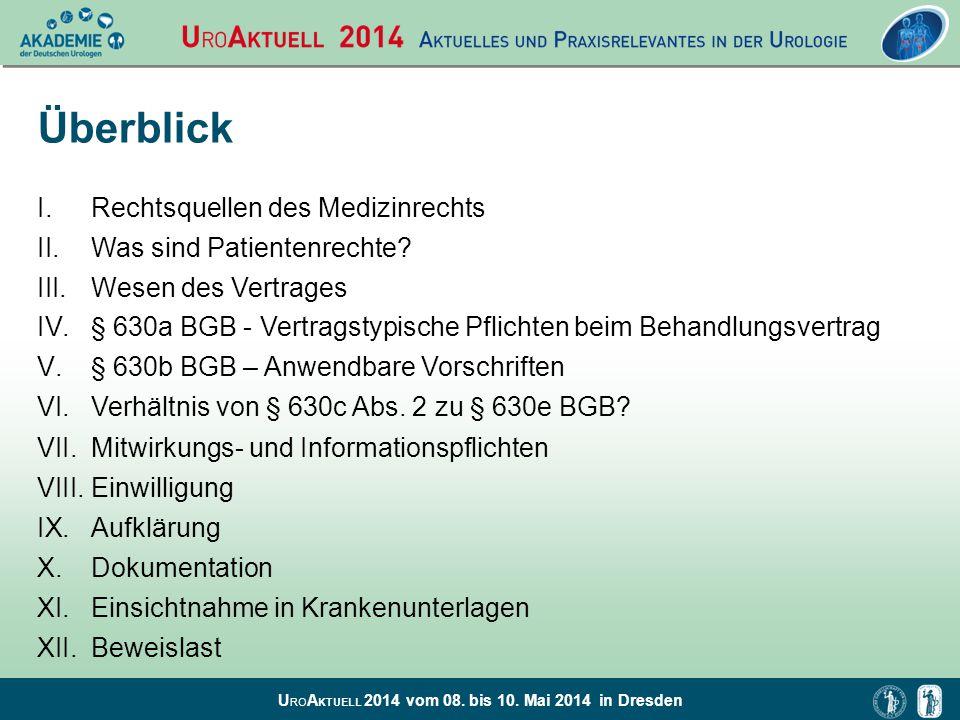 U RO A KTUELL 2014 vom 08. bis 10. Mai 2014 in Dresden Überblick I.Rechtsquellen des Medizinrechts II.Was sind Patientenrechte? III.Wesen des Vertrage