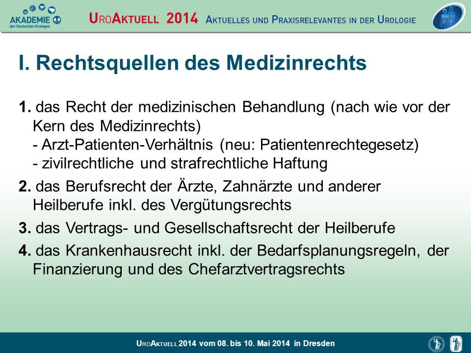 U RO A KTUELL 2014 vom 08. bis 10. Mai 2014 in Dresden I. Rechtsquellen des Medizinrechts 1. das Recht der medizinischen Behandlung (nach wie vor der