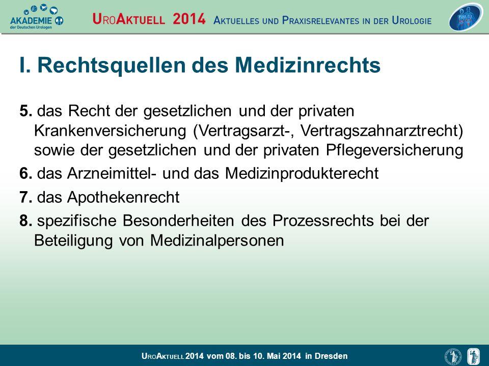 U RO A KTUELL 2014 vom 08. bis 10. Mai 2014 in Dresden I. Rechtsquellen des Medizinrechts 5. das Recht der gesetzlichen und der privaten Krankenversic