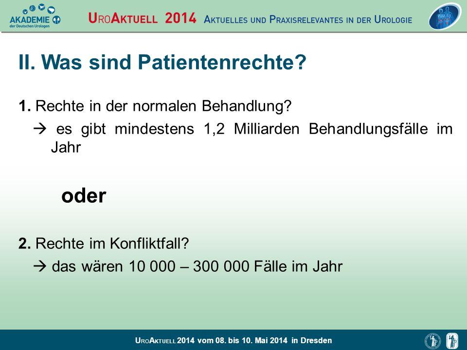 U RO A KTUELL 2014 vom 08. bis 10. Mai 2014 in Dresden II. Was sind Patientenrechte? 1. Rechte in der normalen Behandlung?  es gibt mindestens 1,2 Mi