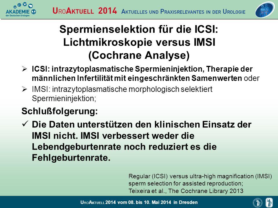 U RO A KTUELL 2014 vom 08. bis 10. Mai 2014 in Dresden Spermienselektion für die ICSI: Lichtmikroskopie versus IMSI (Cochrane Analyse)  ICSI: intrazy
