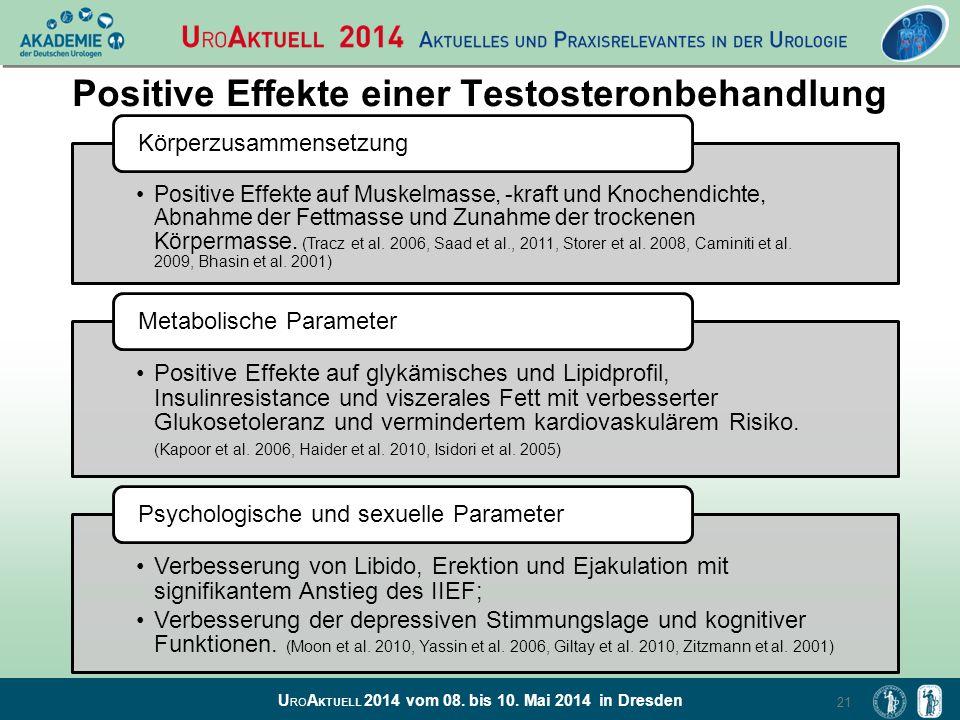 U RO A KTUELL 2014 vom 08. bis 10. Mai 2014 in Dresden Positive Effekte einer Testosteronbehandlung 21 Positive Effekte auf Muskelmasse, -kraft und Kn