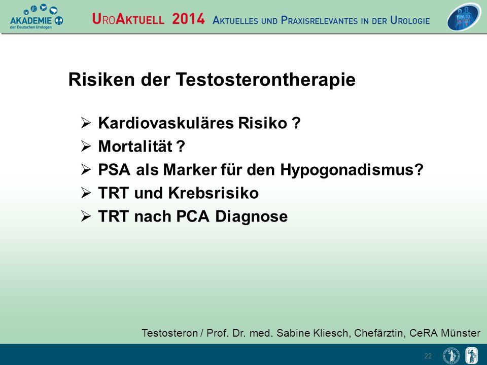 22 Testosteron / Prof. Dr. med. Sabine Kliesch, Chefärztin, CeRA Münster Risiken der Testosterontherapie  Kardiovaskuläres Risiko ?  Mortalität ? 