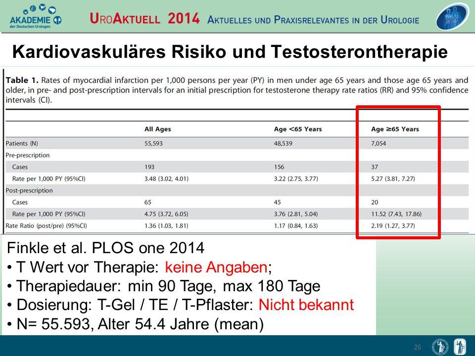 26 Kardiovaskuläres Risiko und Testosterontherapie Finkle et al. PLOS one 2014 T Wert vor Therapie: keine Angaben; Therapiedauer: min 90 Tage, max 180