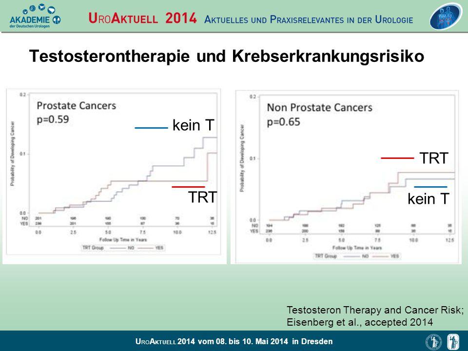 U RO A KTUELL 2014 vom 08. bis 10. Mai 2014 in Dresden Testosterontherapie und Krebserkrankungsrisiko kein T TRT kein T TRT Testosteron Therapy and Ca