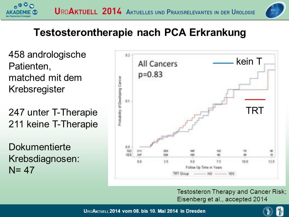 U RO A KTUELL 2014 vom 08. bis 10. Mai 2014 in Dresden Testosterontherapie nach PCA Erkrankung 458 andrologische Patienten, matched mit dem Krebsregis
