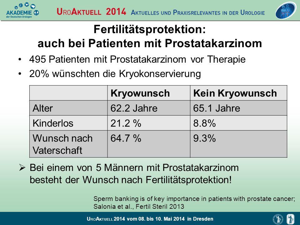 U RO A KTUELL 2014 vom 08. bis 10. Mai 2014 in Dresden Fertilitätsprotektion: auch bei Patienten mit Prostatakarzinom 495 Patienten mit Prostatakarzin