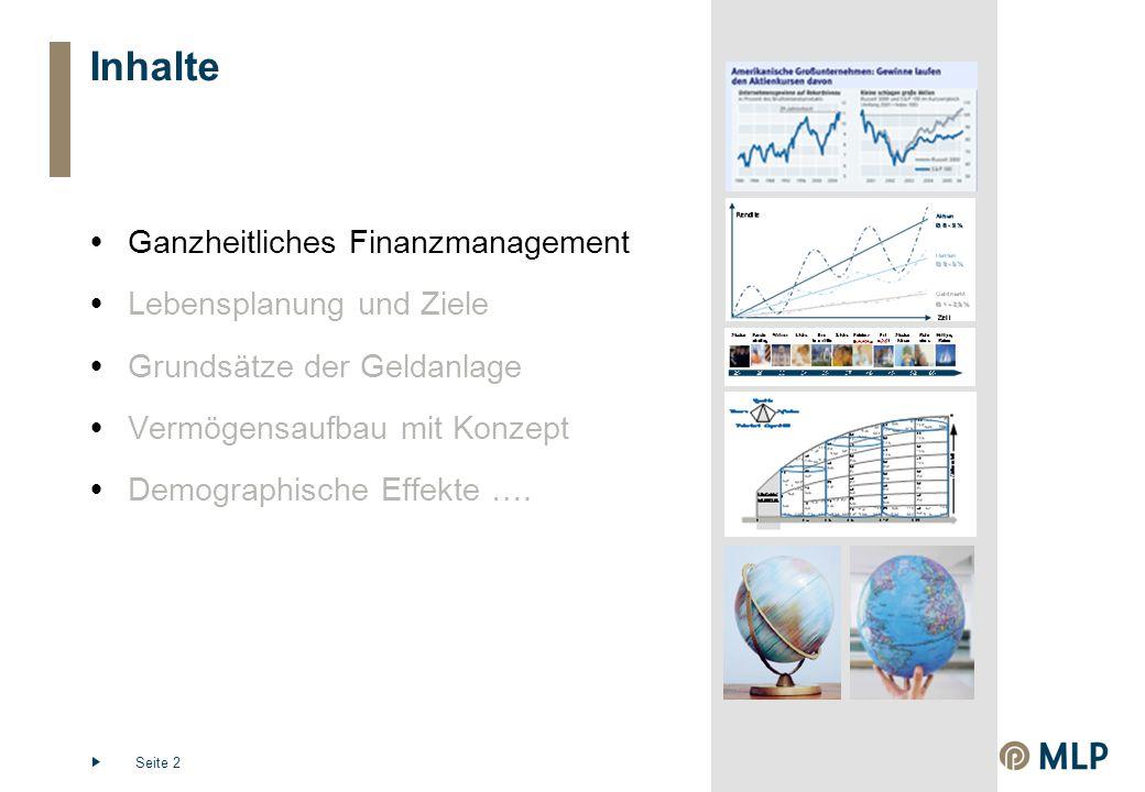 Seite 2 Inhalte  Ganzheitliches Finanzmanagement  Lebensplanung und Ziele  Grundsätze der Geldanlage  Vermögensaufbau mit Konzept  Demographische Effekte ….