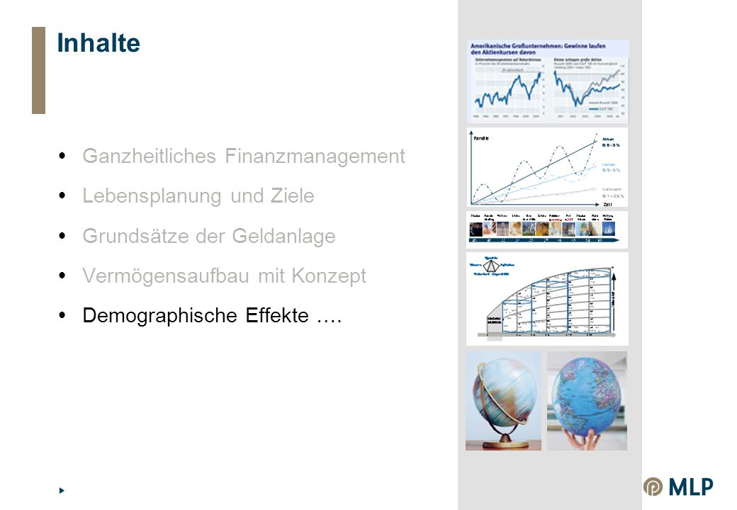 Inhalte  Ganzheitliches Finanzmanagement  Lebensplanung und Ziele  Grundsätze der Geldanlage  Vermögensaufbau mit Konzept  Demographische Effekte ….
