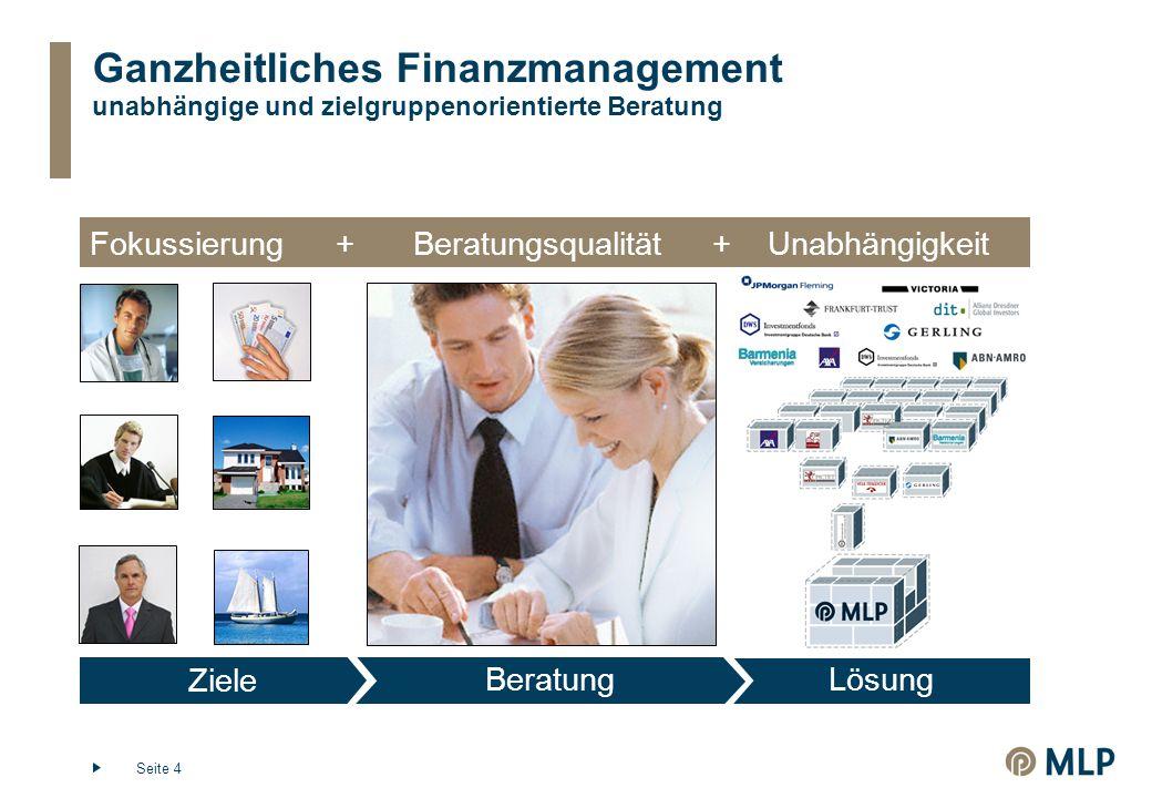 Seite 4 Ganzheitliches Finanzmanagement unabhängige und zielgruppenorientierte Beratung Ziele BeratungLösung Fokussierung+Beratungsqualität+Unabhängigkeit