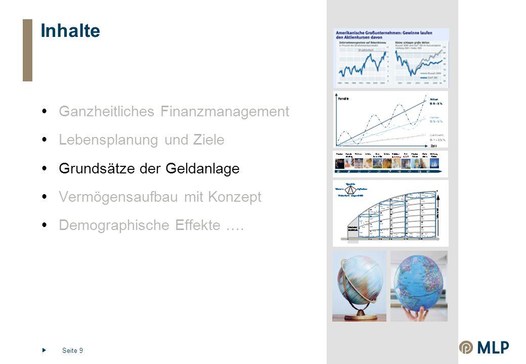 Seite 9 Inhalte  Ganzheitliches Finanzmanagement  Lebensplanung und Ziele  Grundsätze der Geldanlage  Vermögensaufbau mit Konzept  Demographische Effekte ….