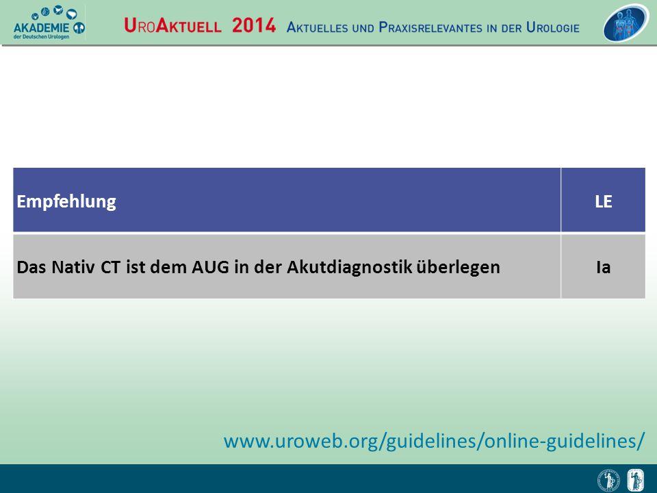 EmpfehlungLE Das Nativ CT ist dem AUG in der Akutdiagnostik überlegenIa www.uroweb.org/guidelines/online-guidelines/