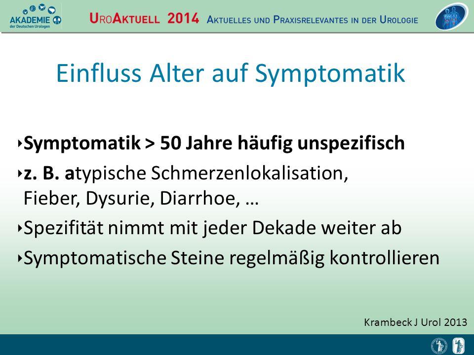 ‣ Symptomatik > 50 Jahre häufig unspezifisch ‣ z. B. atypische Schmerzenlokalisation, Fieber, Dysurie, Diarrhoe, … ‣ Spezifität nimmt mit jeder Dekade