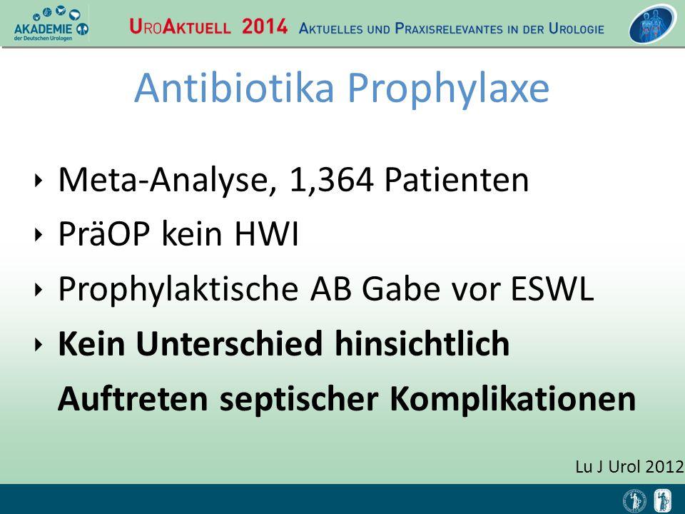 Lu J Urol 2012 Antibiotika Prophylaxe ‣ Meta-Analyse, 1,364 Patienten ‣ PräOP kein HWI ‣ Prophylaktische AB Gabe vor ESWL ‣ Kein Unterschied hinsichtl