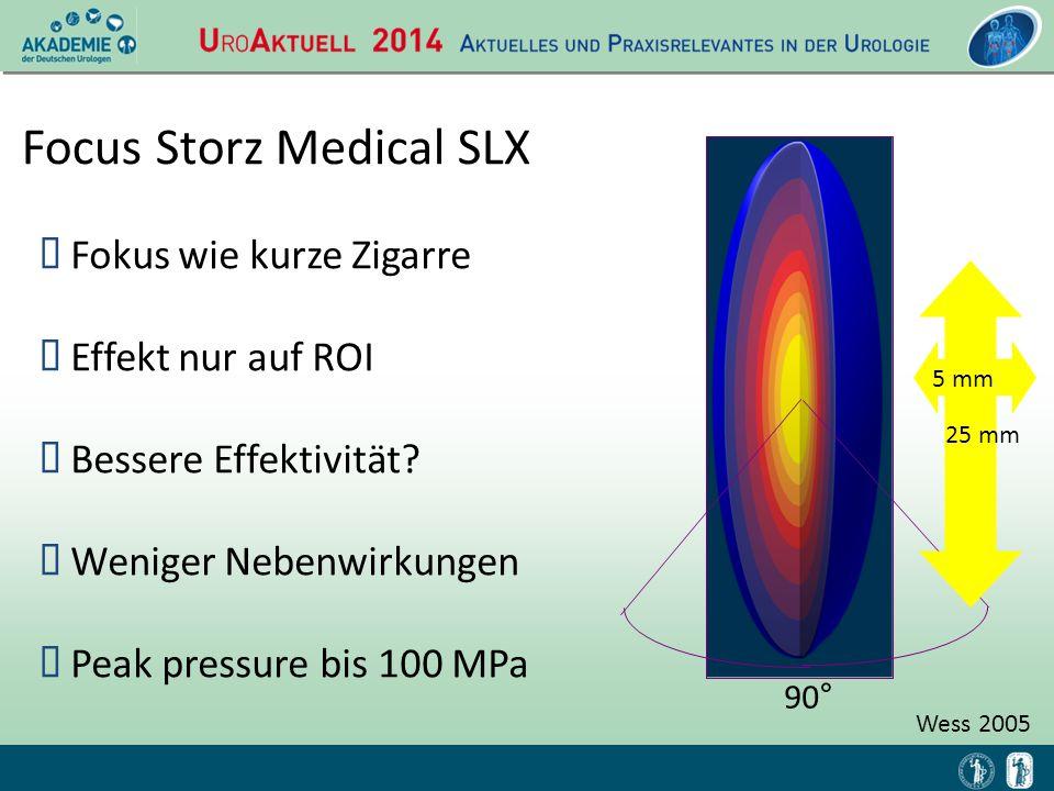 Focus Storz Medical SLX  Fokus wie kurze Zigarre  Effekt nur auf ROI  Bessere Effektivität?  Weniger Nebenwirkungen  Peak pressure bis 100 MPa 90