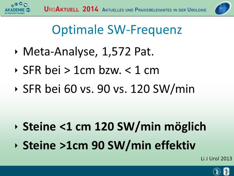 Optimale SW-Frequenz ‣ Meta-Analyse, 1,572 Pat. ‣ SFR bei > 1cm bzw. < 1 cm ‣ SFR bei 60 vs. 90 vs. 120 SW/min ‣ Steine <1 cm 120 SW/min möglich ‣ Ste