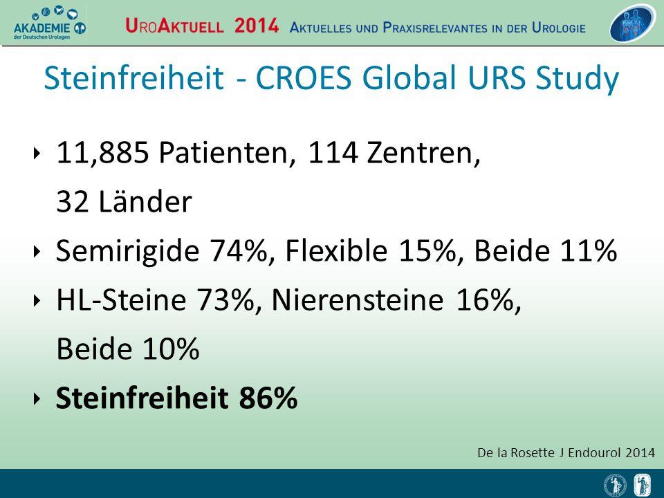 De la Rosette J Endourol 2014 Steinfreiheit - CROES Global URS Study ‣ 11,885 Patienten, 114 Zentren, 32 Länder ‣ Semirigide 74%, Flexible 15%, Beide