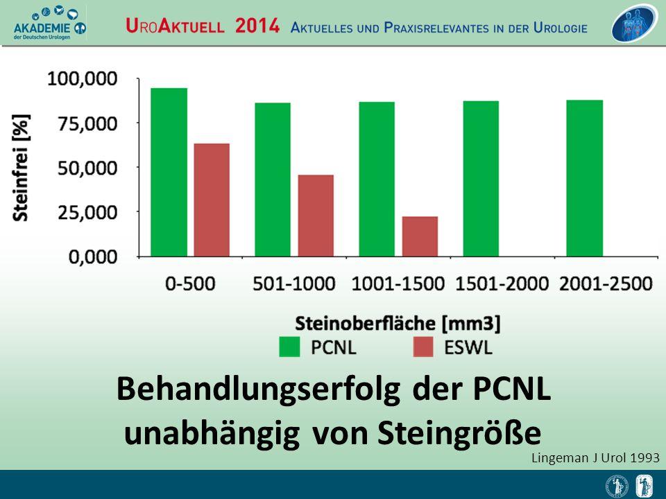 Behandlungserfolg der PCNL unabhängig von Steingröße Lingeman J Urol 1993