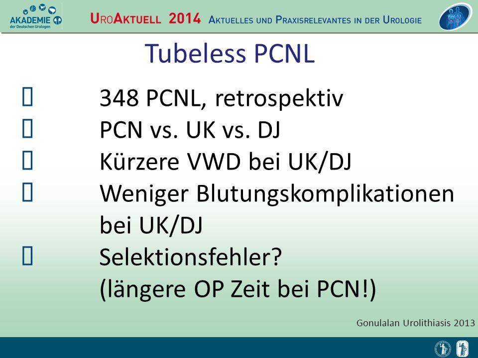Tubeless PCNL  348 PCNL, retrospektiv  PCN vs. UK vs. DJ  Kürzere VWD bei UK/DJ  Weniger Blutungskomplikationen bei UK/DJ  Selektionsfehler? (län