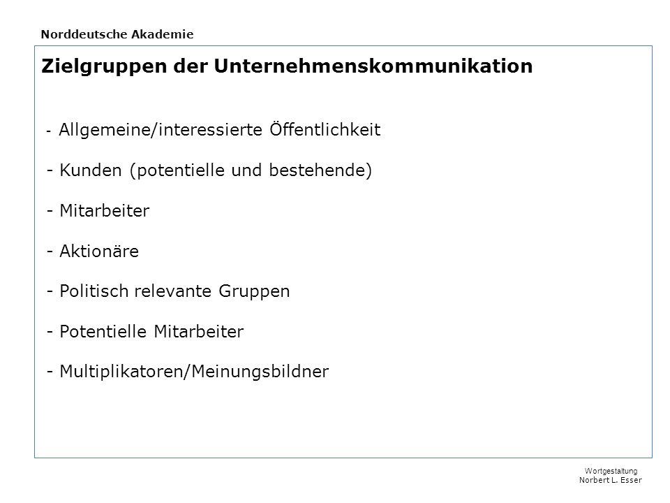 Norddeutsche Akademie - Fachkompetenz/Wissen/Kontakte etc.