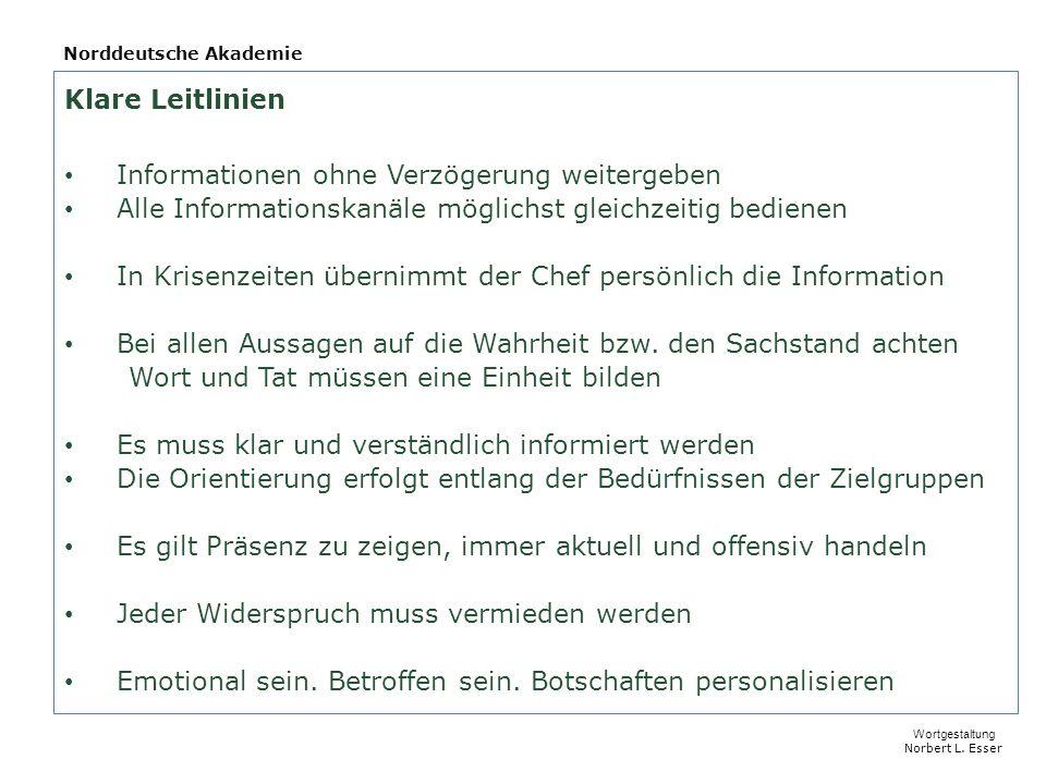 Norddeutsche Akademie Klare Leitlinien Informationen ohne Verzögerung weitergeben Alle Informationskanäle möglichst gleichzeitig bedienen In Krisenzeiten übernimmt der Chef persönlich die Information Bei allen Aussagen auf die Wahrheit bzw.