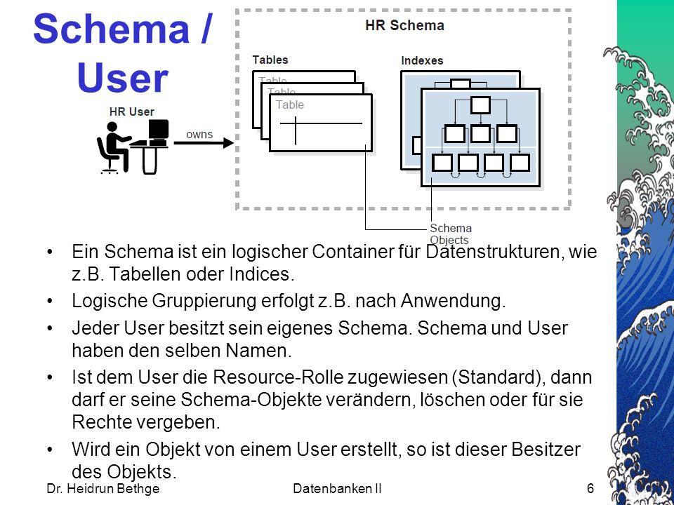 Schema / User Ein Schema ist ein logischer Container für Datenstrukturen, wie z.B.