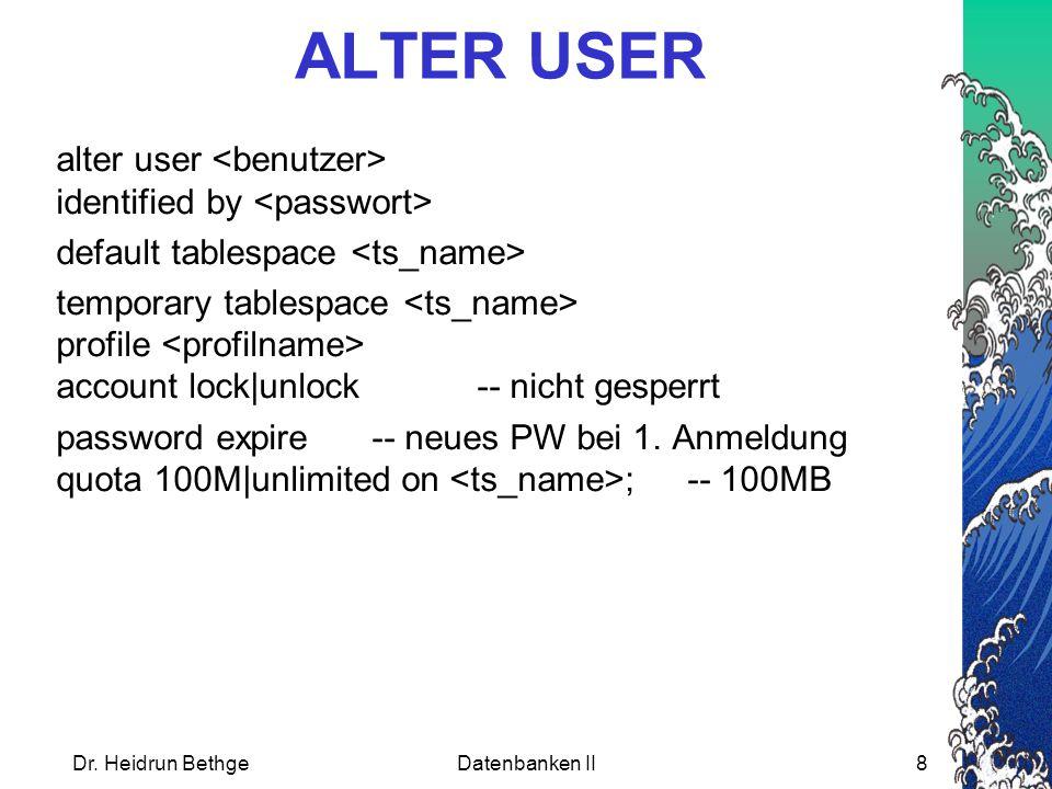 Passwort ändern alter user identified by [replace ]; replace ist nur notwendig, wenn im Profil PASSWORD_VERIFY_FUNCTION eingeschaltet ist.
