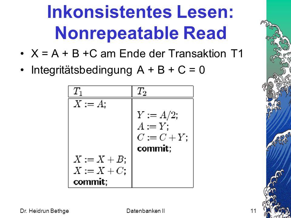 Dr. Heidrun BethgeDatenbanken II11 Inkonsistentes Lesen: Nonrepeatable Read X = A + B +C am Ende der Transaktion T1 Integritätsbedingung A + B + C = 0