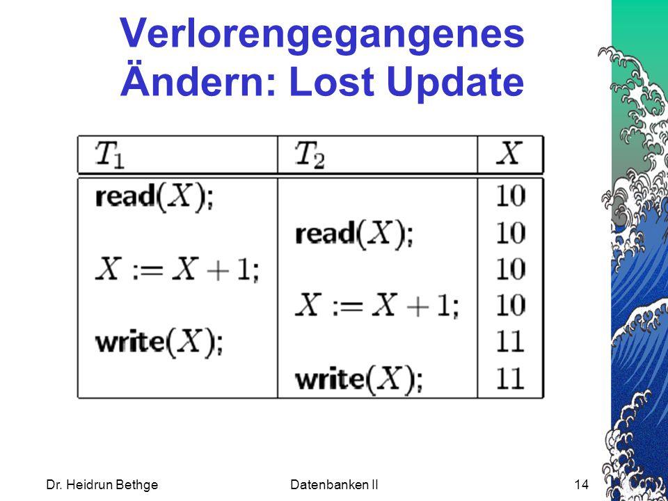 Dr. Heidrun BethgeDatenbanken II14 Verlorengegangenes Ändern: Lost Update