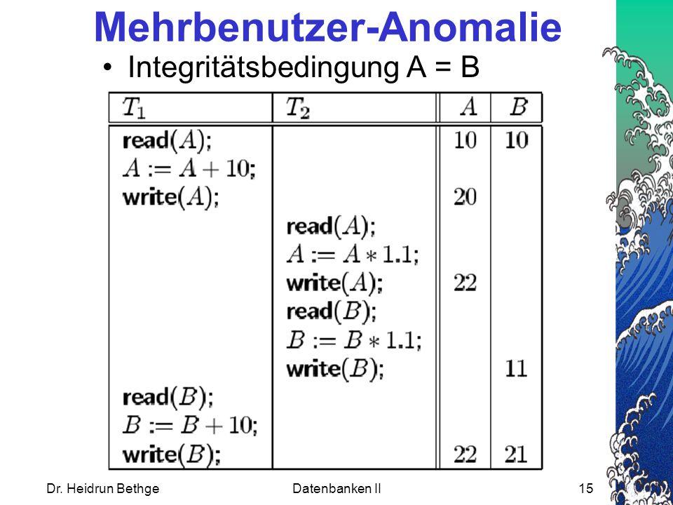 Dr. Heidrun BethgeDatenbanken II15 Mehrbenutzer-Anomalie Integritätsbedingung A = B