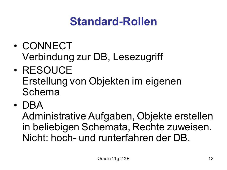 Standard-Rollen CONNECT Verbindung zur DB, Lesezugriff RESOUCE Erstellung von Objekten im eigenen Schema DBA Administrative Aufgaben, Objekte erstelle