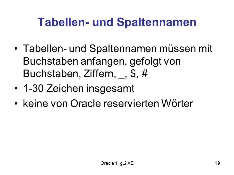 Tabellen- und Spaltennamen Tabellen- und Spaltennamen müssen mit Buchstaben anfangen, gefolgt von Buchstaben, Ziffern, _, $, # 1-30 Zeichen insgesamt
