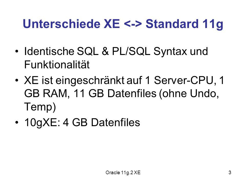 Unterschiede XE Standard 11g Identische SQL & PL/SQL Syntax und Funktionalität XE ist eingeschränkt auf 1 Server-CPU, 1 GB RAM, 11 GB Datenfiles (ohne