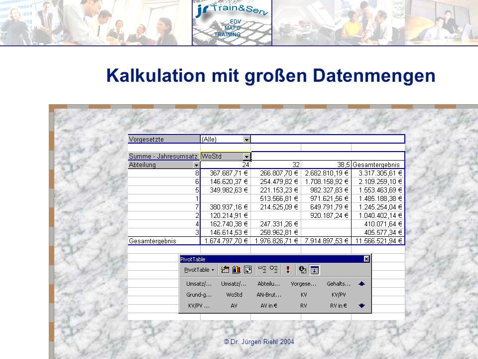 EDV MAFO TRAINING © Dr. Jürgen Riehl 2004 Kalkulation mit großen Datenmengen