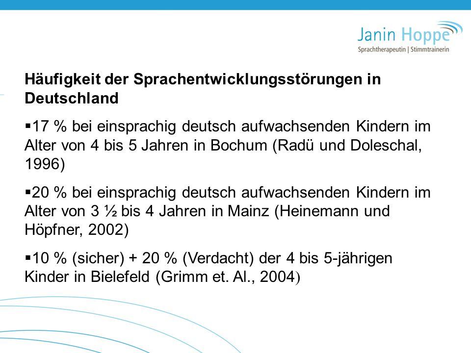 Häufigkeit der Sprachentwicklungsstörungen in Deutschland  17 % bei einsprachig deutsch aufwachsenden Kindern im Alter von 4 bis 5 Jahren in Bochum (